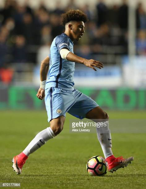 Jadon Sancho of Manchester City during the FA Youth Cup Final first leg match between of Manchester City and Chelsea at The Academy Stadium on April...