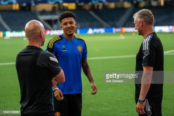 Jadon Sancho of Manchester United arrives ahead of a first team training session at Stadion Wankdorf on September 13, 2021 in Bern, Switzerland.