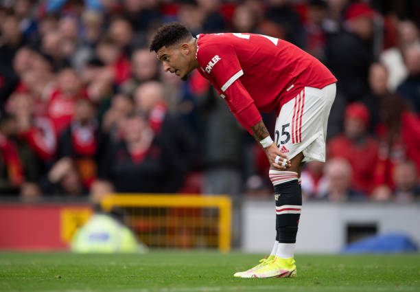 Jadon Sancho of Manchester United during the Premier League match between Manchester United and Everton at Old Trafford on October 02, 2021 in...