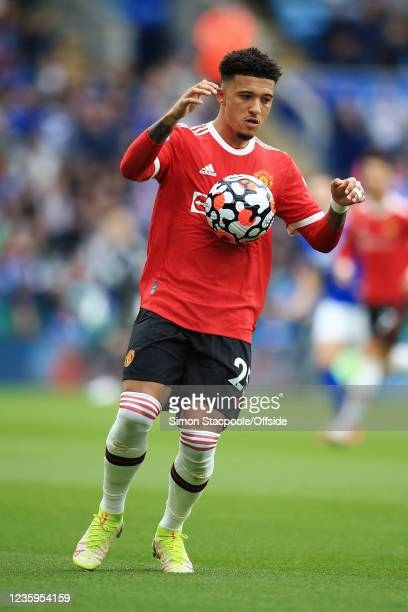 Jadon Sancho of Manchester United in action during the Premier League match between Leicester City and Manchester United at The King Power Stadium on...