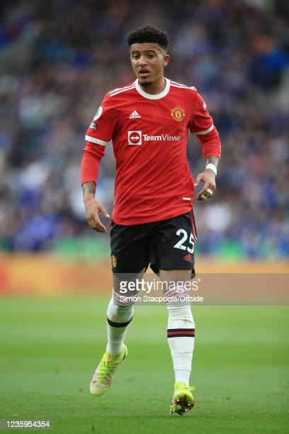 Jadon Sancho of Manchester United looks on during the Premier League match between Leicester City and Manchester United at The King Power Stadium on...