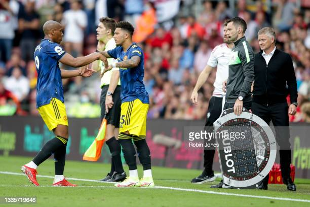 Jadon Sancho replaces team-mate Anthony Martial of Manchester United during the Premier League match between Southampton and Manchester United at St...