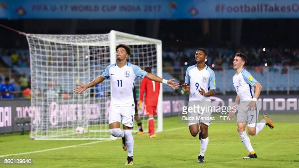 Jadon Sancho, Rhian Brewster and Philip Foden of England celebrate after scoring a goal during the FIFA U-17 World Cup India 2017 group F match...