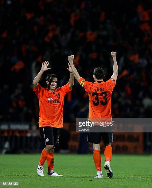 Jadson and Darijo Srna of FC Shakhtar Donetsk jubilate at their victory against of FC Dynamo Kiev during the UEFA Cup semifinals second leg match...