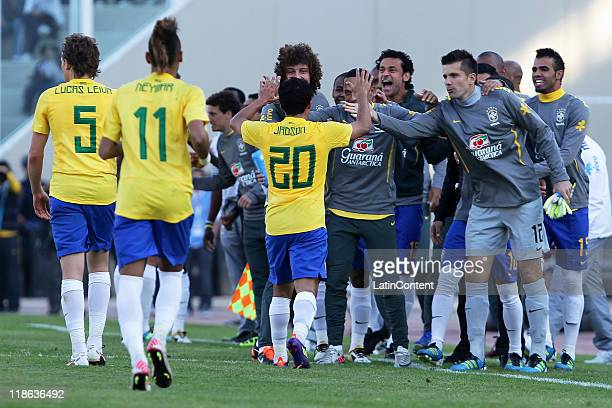 Jadson from Brasil celebrate during the match between Brasil and Paraguay as parto of the group B of the Copa America Argentina 2011 on July 09 2011...