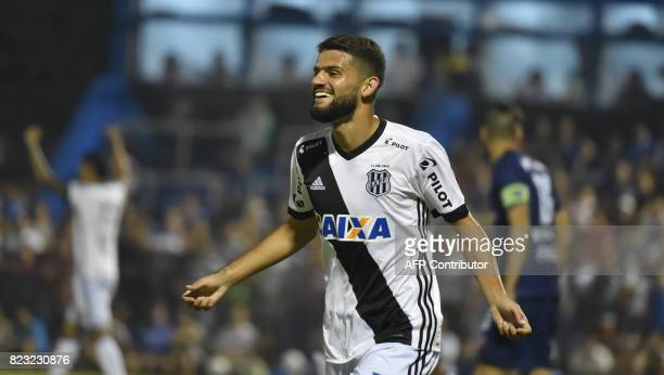 Jadson of Brazil's Ponte Preta celebrates after scoring against Paraguay's Sol de America during their 2017 Copa Sudamericana football match held at...