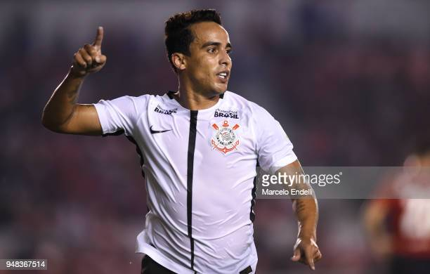Jadson of Corinthians celebrates after scoring the first goal of his team during a Group 7 match between Independiente and Corinthians as part of...