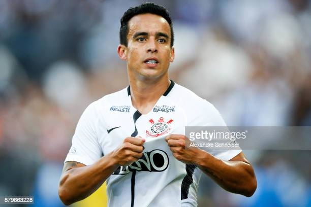 Jadson of Corinthians celebrates after scoring their first goal during the match against Atletico MG for the Brasileirao Series A 2017 at Arena...