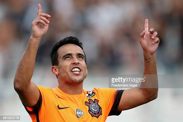 Jadson of Corinthians celebrates scoring the first goal during the match between Ponte Preta and Corinthians for the Brazilian Series A 2015 at...