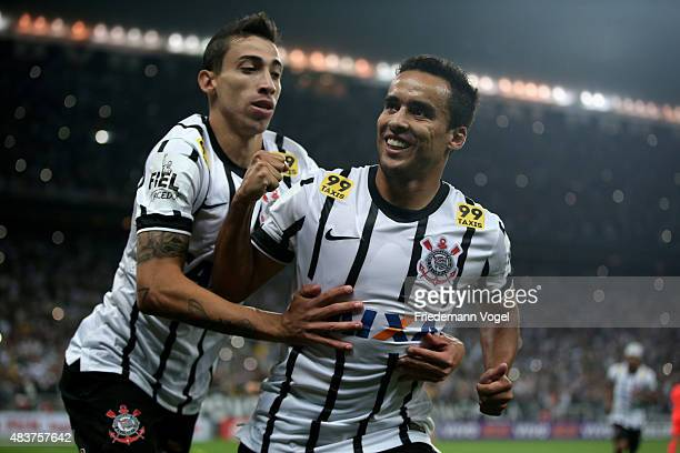 Jadson of Corinthians celebrates scoring the fourth goal with Rildo during the match between Corinthians and Sport Recife for the Brazilian Series A...