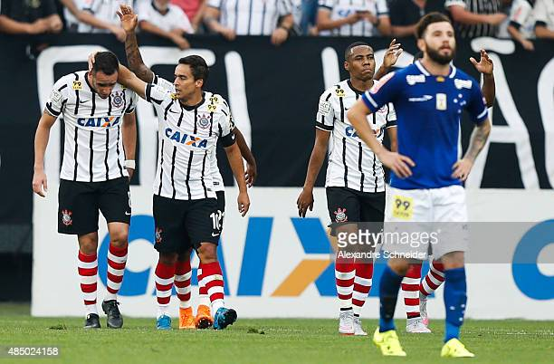 Jadson of Corinthians celebrates their second goal during the match between Corinthians and Cruzeiro for the Brazilian Series A 2015 at Arena...