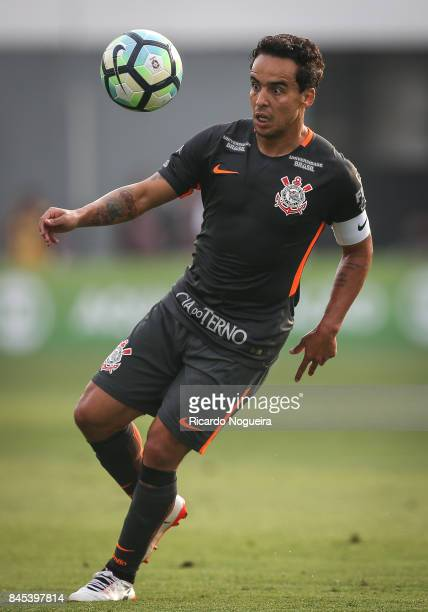 Jadson of Corinthians in action during the match between Santos and Corinthians as a part of Campeonato Brasileiro 2017 at Vila Belmiro Stadium on...