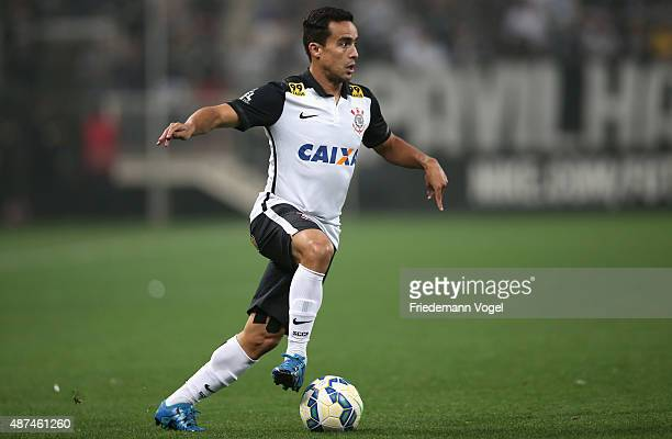 Jadson of Corinthians runs with the ball during the match between Corinthians and Gremio for the Brazilian Series A 2015 at Arena Corinthians on...