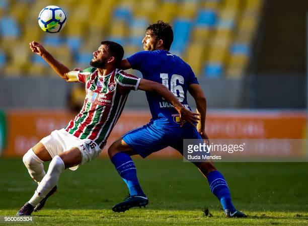Jadson of Fluminense struggles for the ball with Lucas Silva of Cruzeiro during a match between Fluminense and Cruzeiro as part of Brasileirao Series...