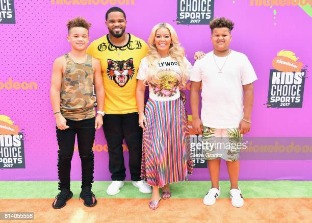 Jadyn Fielder MLB player Prince Fielder Chanel Fielder and Haven Fielder attend the Nickelodeon Kids' Choice Sports Awards 2017 at Pauley Pavilion on...