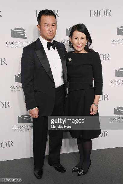 Jae Chung and Tina Kim attend the Guggenheim International Gala Dinner made possible by Dior at Solomon R Guggenheim Museum on November 15 2018 in...