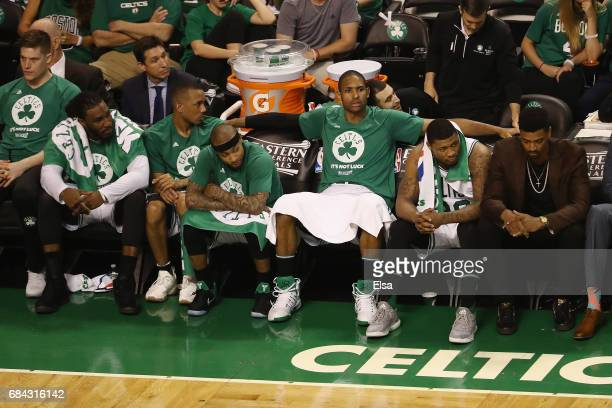 Jae Crowder Avery Bradley Isaiah Thomas Al Horford and Marcus Smart of the Boston Celtics react on the bench during the fourth quarter against the...
