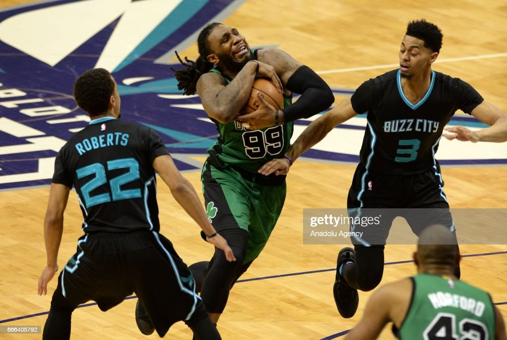 Jae Crowder (99) of Boston Celtics carries the ball during the NBA match between Boston Celtics vs Charlotte Hornets at the Spectrum arena in Charlotte, NC, United States on April 8, 2017.