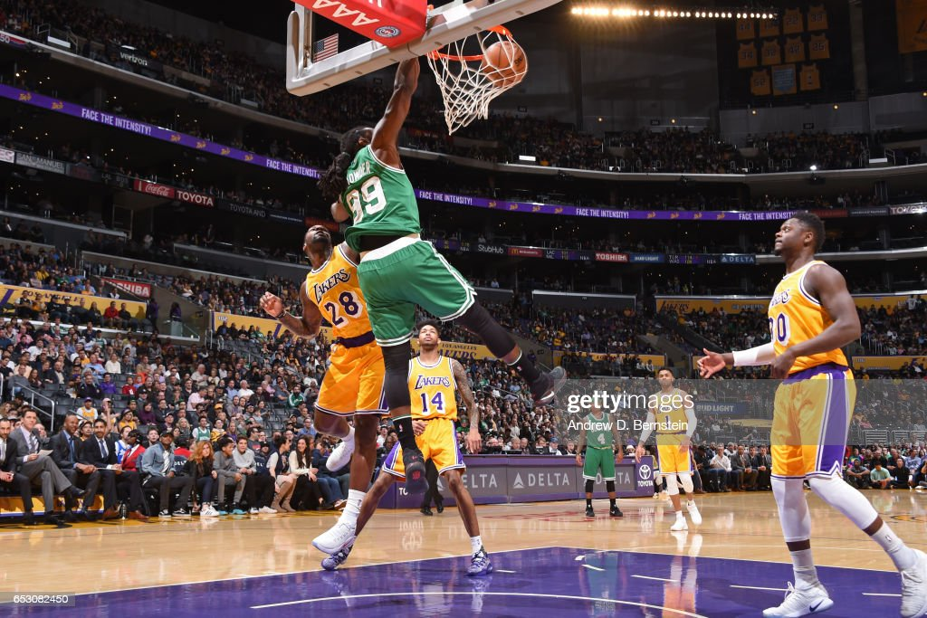 Jae Crowder #99 of the Boston Celtics dunks against the Los Angeles Lakers on March 3, 2017 at STAPLES Center in Los Angeles, California.