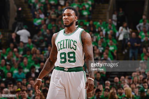 Jae Crowder of the Boston Celtics is seen against the Atlanta Hawks in Game Three of the Eastern Conference Quarterfinals of the 2016 NBA Playoffs on...