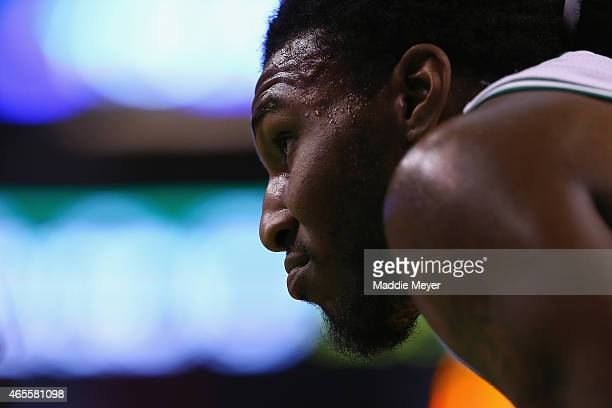 Jae Crowder of the Boston Celtics looks on during the game against the New York Knicks at TD Garden on February 25 2015 in Boston Massachusetts NOTE...
