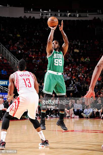 Jae Crowder of the Boston Celtics shoots the ball against the Houston Rockets during the game on December 5 2016 at the Toyota Center in Houston...