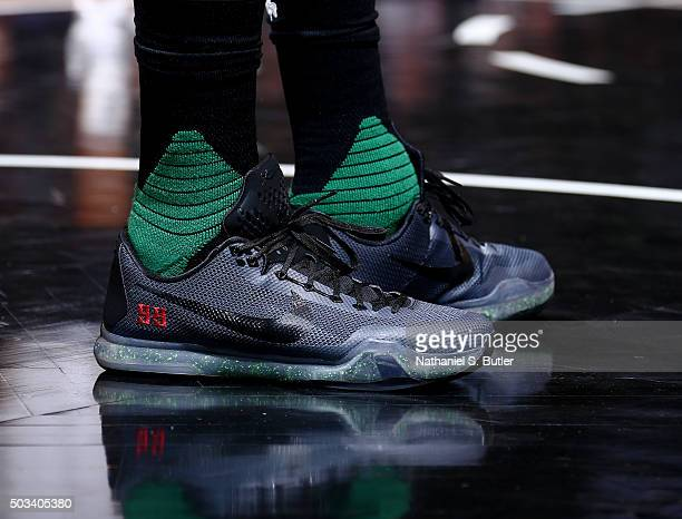 Jae Crowder of the Boston Celtics sneakers are seen during the game against the Brooklyn Nets on January 4 2016 at Barclays Center in Brooklyn New...