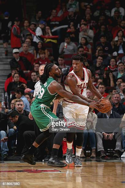Jae Crowder of the Boston Celtics tried to steal the ball from Jimmy Butler of the Chicago Bulls on October 27 2016 at the United Center in Chicago...