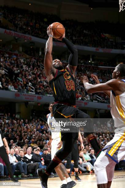 Jae Crowder of the Cleveland Cavaliers drives to the basket against the Golden State Warriors on January 15 2018 at Quicken Loans Arena in Cleveland...