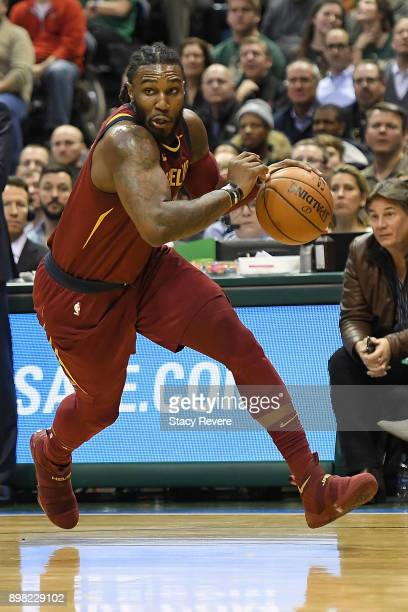 Jae Crowder of the Cleveland Cavaliers drives to the basket during a game against the Milwaukee Bucks at the Bradley Center on December 19 2017 in...
