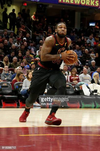 Jae Crowder of the Cleveland Cavaliers drives to the hoop during the game against the Oklahoma City Thunder at Quicken Loans Arena on January 20 2018...