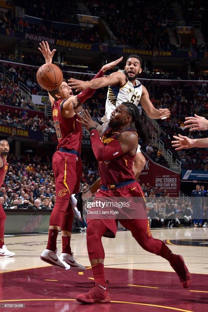Jae Crowder #99 of the Cleveland Cavaliers goes for the block on the shot by Cory Joseph #6 of the Indiana Pacers during the game between the two teams on November 1, 2017 at Quicken Loans Arena in Cleveland, Ohio.