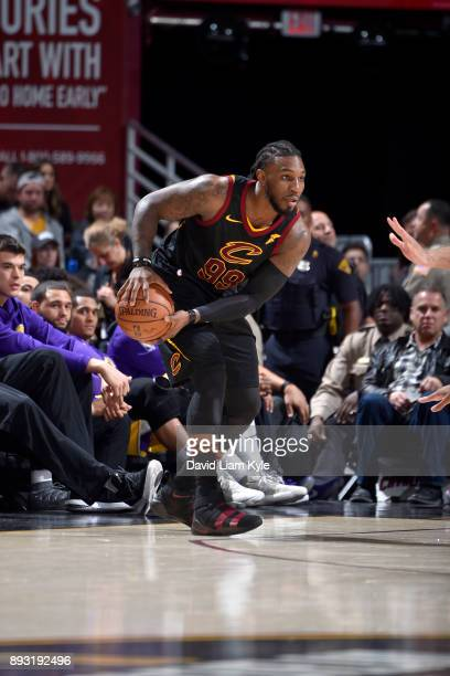 Jae Crowder of the Cleveland Cavaliers handles the ball against the Los Angeles Lakers on December 14 2017 at Quicken Loans Arena in Cleveland Ohio...