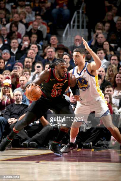 Jae Crowder of the Cleveland Cavaliers handles the ball against the Golden State Warriors on January 15 2018 at Quicken Loans Arena in Cleveland Ohio...