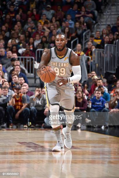 Jae Crowder of the Cleveland Cavaliers handles the ball against the Houston Rockets on February 3 2018 at Quicken Loans Arena in Cleveland Ohio NOTE...