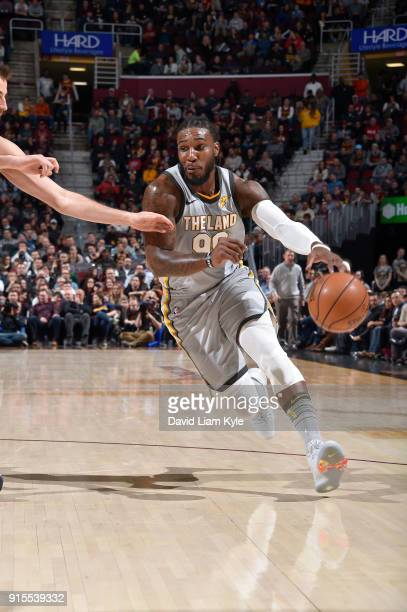 Jae Crowder of the Cleveland Cavaliers handles the ball against the Minnesota Timberwolves on February 7 2018 at Quicken Loans Arena in Cleveland...