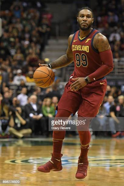 Jae Crowder of the Cleveland Cavaliers handles the ball during a game against the Milwaukee Bucks at the Bradley Center on December 19 2017 in...