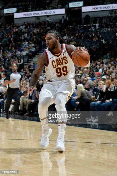Jae Crowder of the Cleveland Cavaliers handles the ball during the game against the San Antonio Spurs on January 23 2018 at the ATT Center in San...
