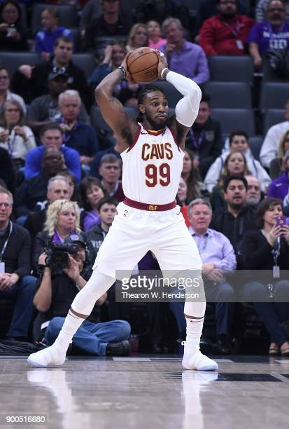 Jae Crowder of the Cleveland Cavaliers looks to pass the ball up court against the Sacramento Kings during their NBA basketball game at Golden 1...