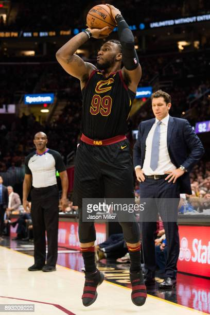 Jae Crowder of the Cleveland Cavaliers shoots and threepointshot during the second half against the Los Angeles Lakers at Quicken Loans Arena on...