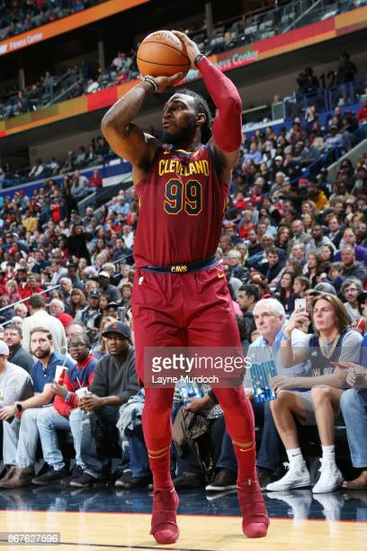 Jae Crowder of the Cleveland Cavaliers shoots the ball against the New Orleans Pelicans on October 28 2017 at the Smoothie King Center in New Orleans...