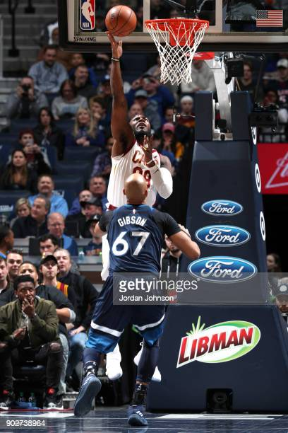 Jae Crowder of the Cleveland Cavaliers shoots the ball against the Minnesota Timberwolves on January 8 2018 at Target Center in Minneapolis Minnesota...