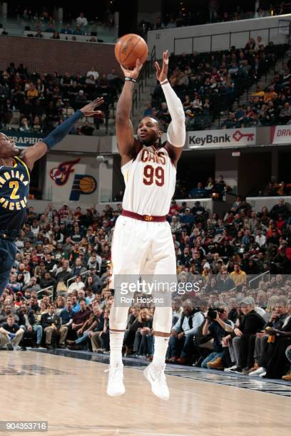 Jae Crowder of the Cleveland Cavaliers shoots the ball against the Indiana Pacers on January 12 2018 at Bankers Life Fieldhouse in Indianapolis...