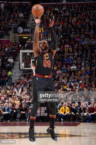 Jae Crowder of the Cleveland Cavaliers shoots the ball against the Golden State Warriors on January 15 2018 at Quicken Loans Arena in Cleveland Ohio...