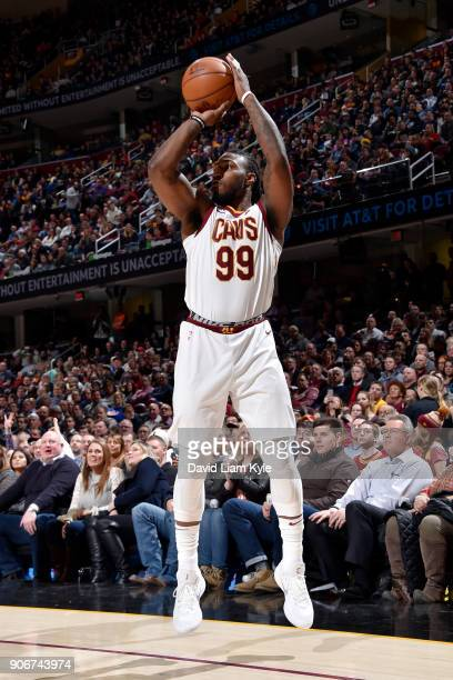Jae Crowder of the Cleveland Cavaliers shoots the ball during the game against the Orlando Magic on January 18 2018 at Quicken Loans Arena in...