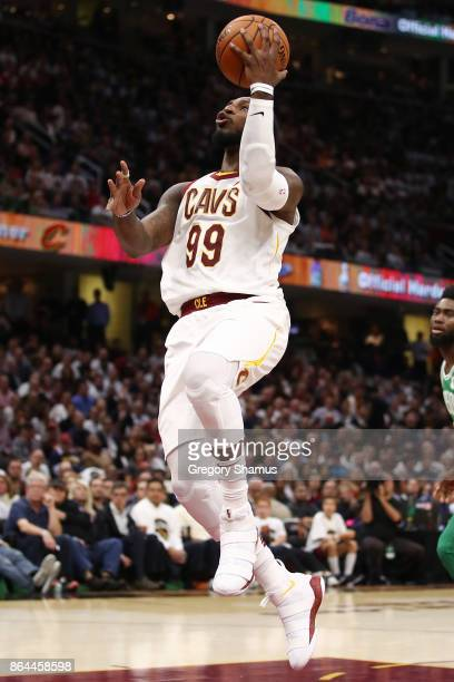 Jae Crowder of the Cleveland Cavaliers takes a shot while playing the Boston Celtics at Quicken Loans Arena on October 17 2017 in Cleveland Ohio NOTE...