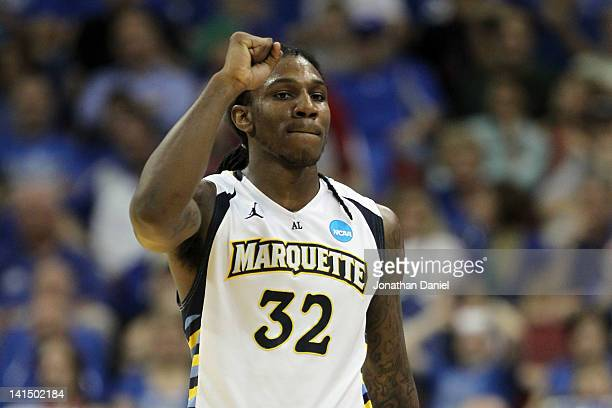 Jae Crowder of the Marquette Golden Eagles celebrates the 6253 victory against the Murray State Racers during the third round of the 2012 NCAA Men's...