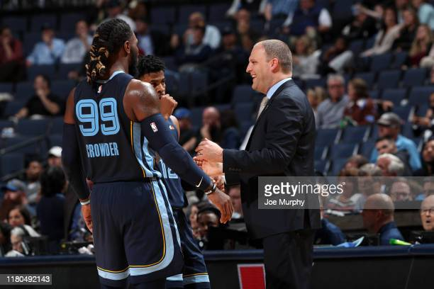 Jae Crowder of the Memphis Grizzlies and Head Coach Taylor Jenkins of the Memphis Grizzlies share a conversation during a game against the Minnesota...