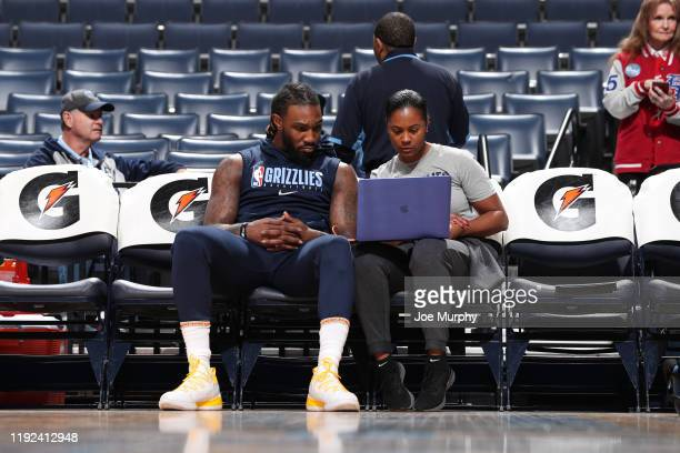 Jae Crowder of the Memphis Grizzlies looks with assistant coach Niele Ivey before the game on January 7 2020 at FedExForum in Memphis Tennessee NOTE...