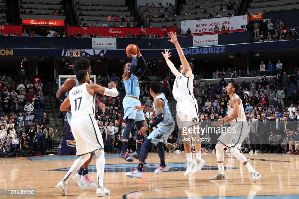 Jae Crowder of the Memphis Grizzlies shoots the 3-point game winning shot against the Brooklyn Nets on October 27, 2019 at FedExForum in Memphis,...